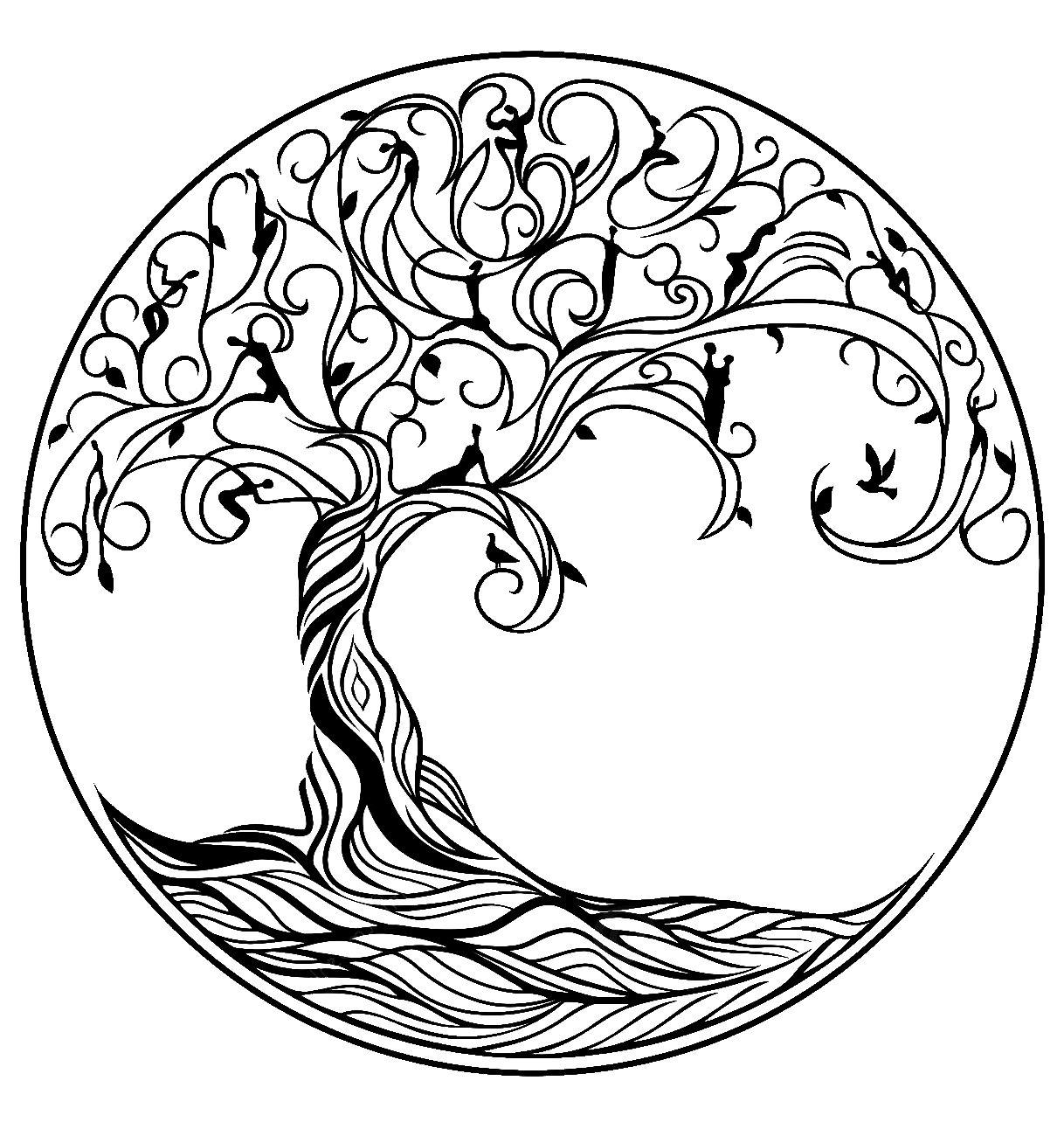 Arbol para colorear | tatoos | Pinterest | Colorear, El arbol y Símbolos