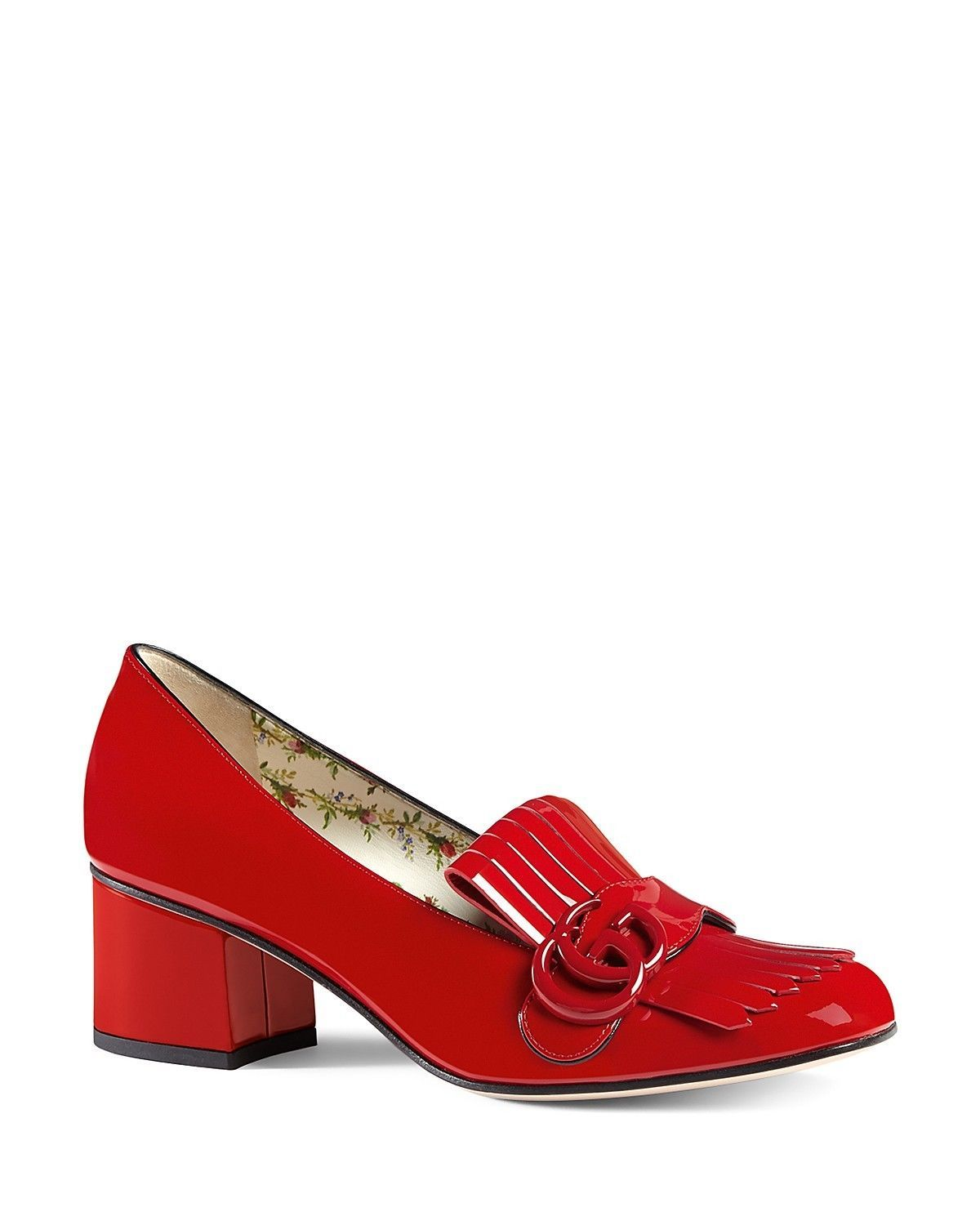 508b96f7b109 Gucci Women s Marmont Mid Heel Loafers Size 39 Red Patent Leather Retail   790
