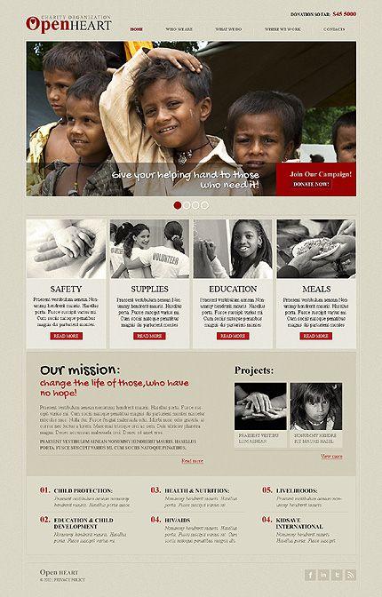 Charity Responsive Website Template | Pinterest | Template, Website ...
