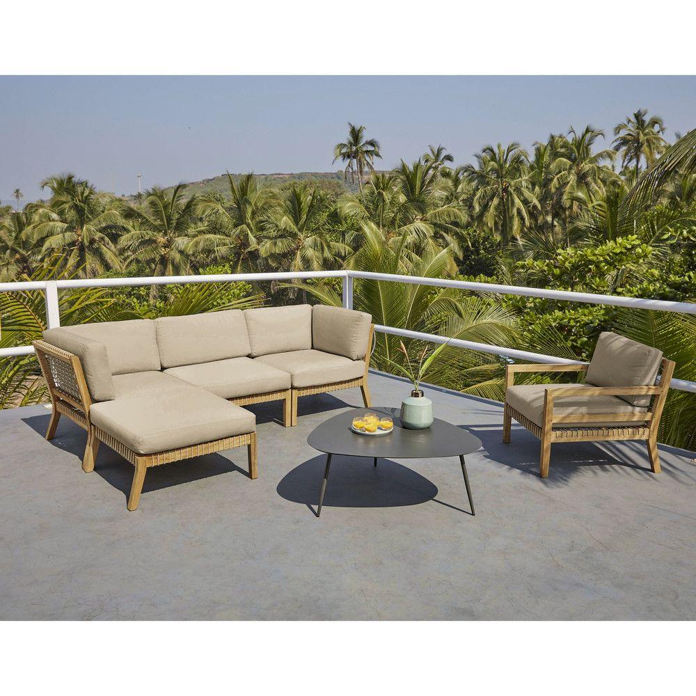 Table basse de jardin vintage en métal blanc | Rayol ...