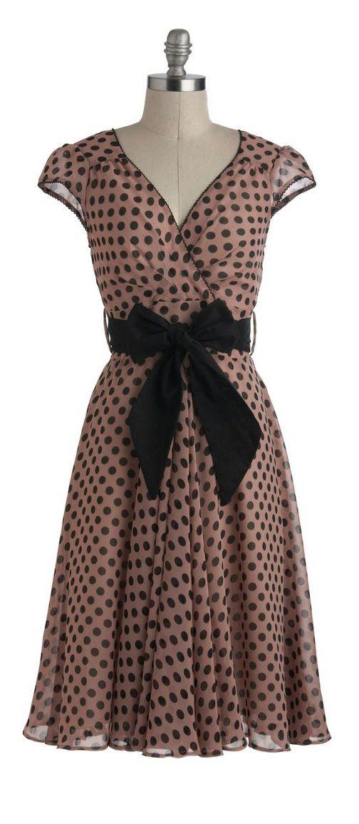 Mauve polka dot dress