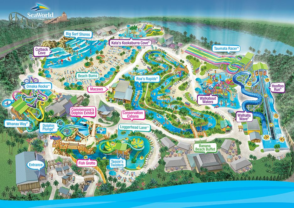 Park Map | Aquatica Orlando | Theme park map, Disney world ...