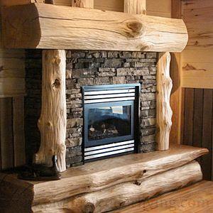 Cedar Log Mantel Cabin Fireplace Rustic Fireplaces Fireplace