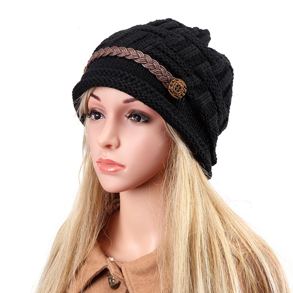 33b34592bdbff Knit Crochet Buttons Strap Cap Decorative Braids Baggy Beanie Hat ...