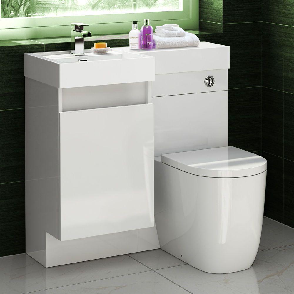 Combined Bathroom Vanity Units: Basin & Oval Toilet Vanity Unit Combination Bathroom Suite