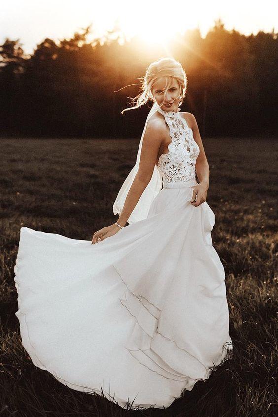 Halter White Lace Long Wedding Dresses #lacechiffon