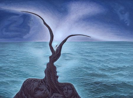 """ Kiss of the Sea "" by Octavio Ocampo .....  Ocampo is known for detailed images that are intricately woven together to create larger images - the optical illusions fading back and stepping forward as you study the pieces, notice the details, and finally recognize the large scale intention. This is what Octavio Ocampo terms his ""metamorphic"" style.  Ocampo is one of Mexico's most prolific artists."