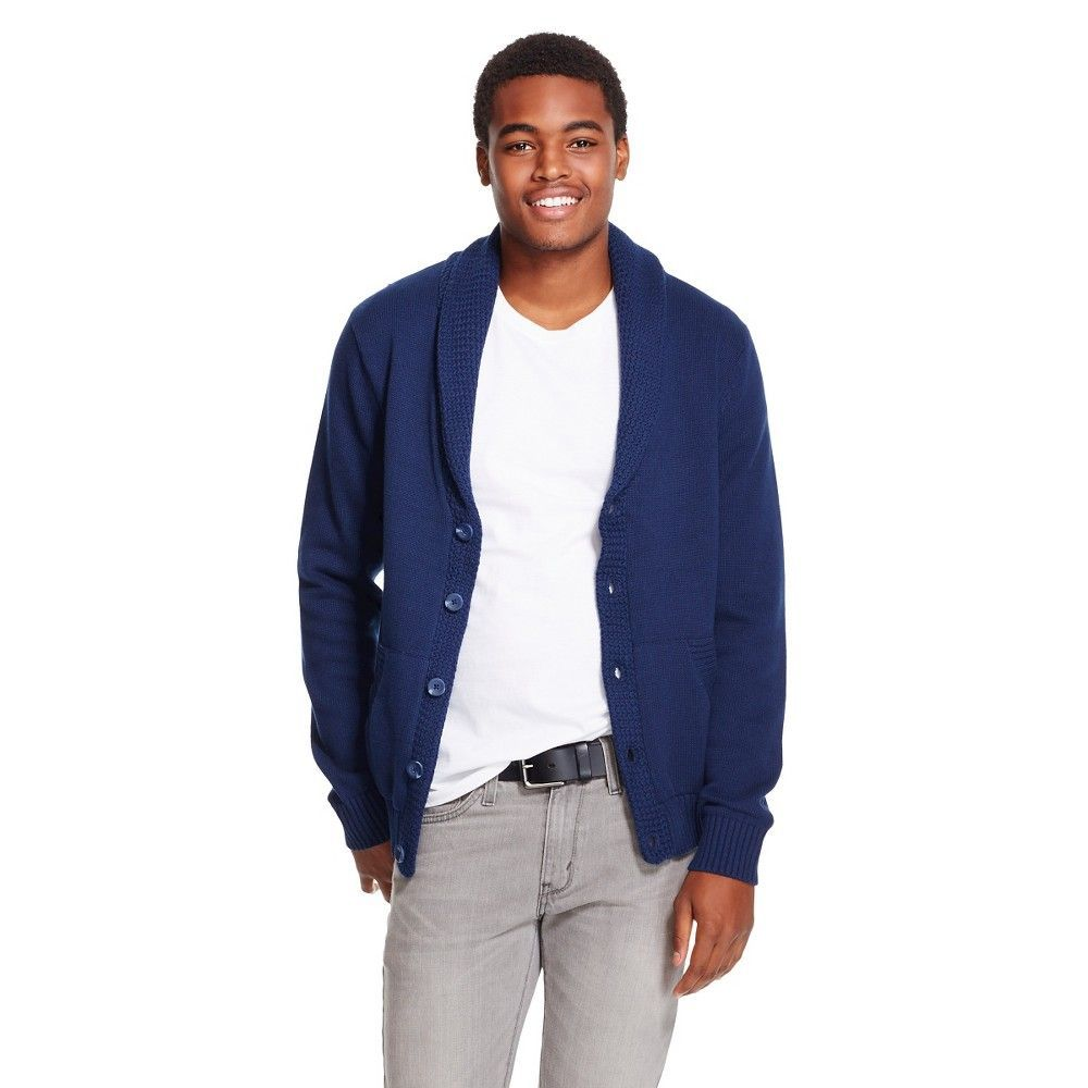 Men's Shawl Collar Cardigan Oxford Blue - Mossimo Supply Co.