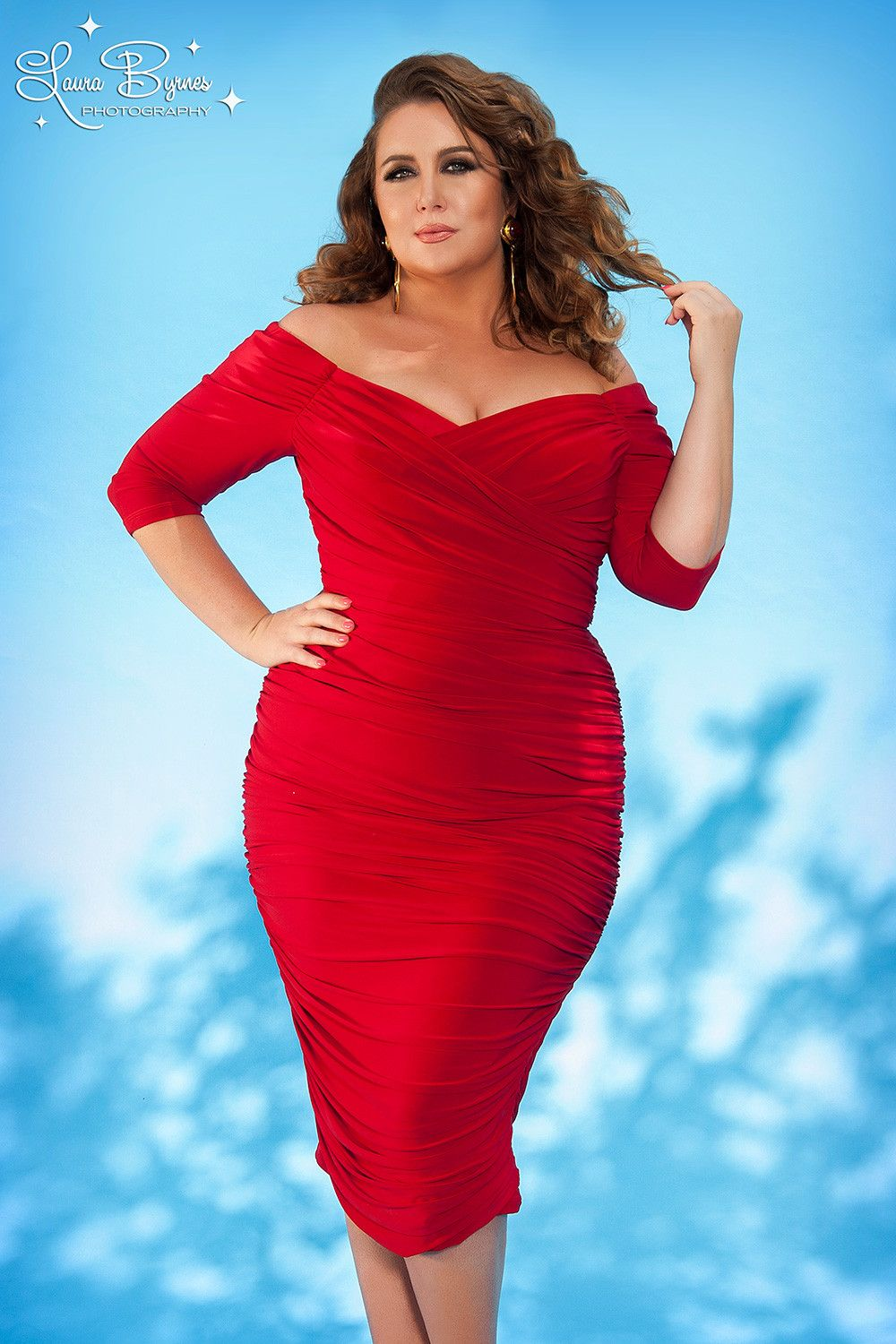 Laura byrnes california plus size monica vintage syle dress in red