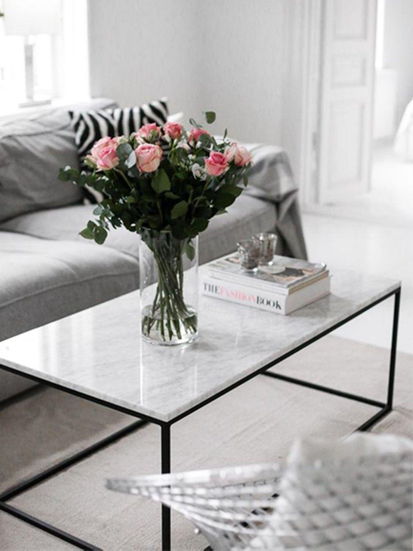Sal n mesa de hierro y m rmol salon - Mesas de marmol y cristal ...