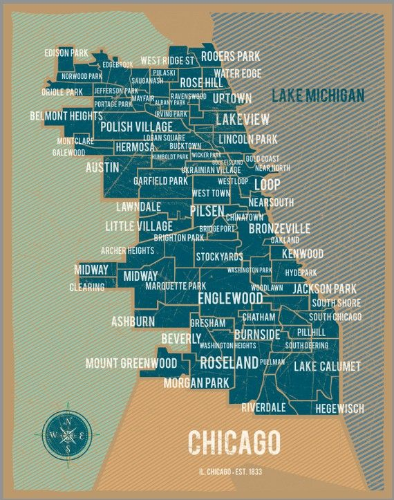 City of Chicago Map Poster in Blue- Vintage Style Poster 11x17 ... Chicago Neighborhood Map Poster on