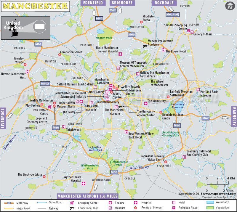 Manchester Map United Kingdom Maps Pinterest Manchester uk