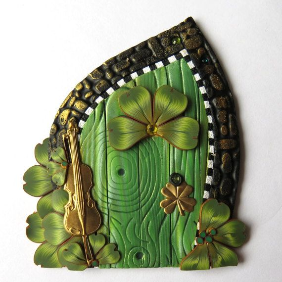 Leprechaun Door Handcrafted from Claybykim Pixie Portal with a Brass Fiddle Polymer Clay Miniature Door for Fairy Gardens and Home  sc 1 st  Pinterest & Leprechaun Door Handcrafted from Claybykim Pixie Portal with a ... pezcame.com