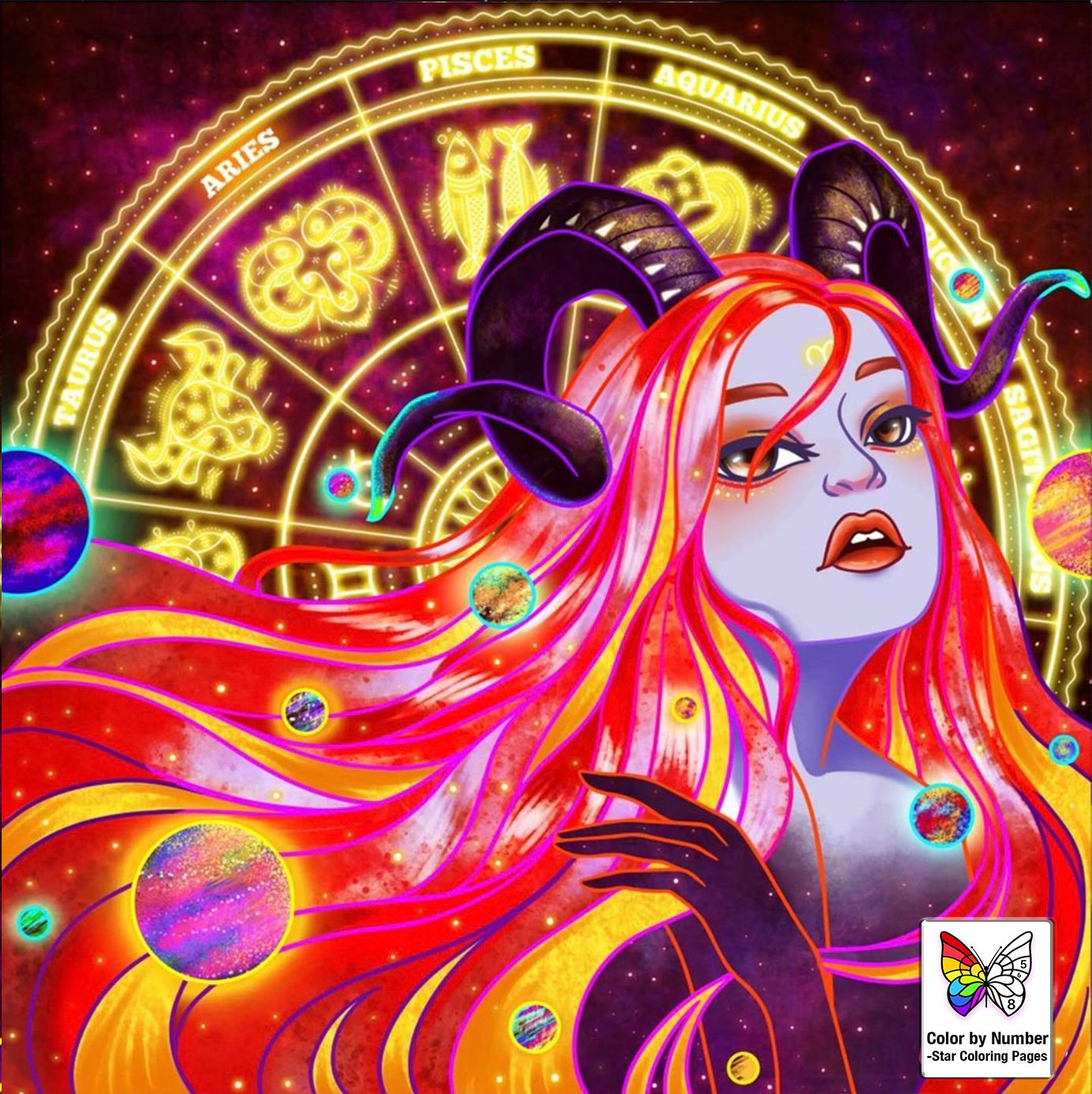 300 Coloring Pages For Grown Ups Woman Free And Printable Zodiac Art Star Coloring Pages Astrology Art
