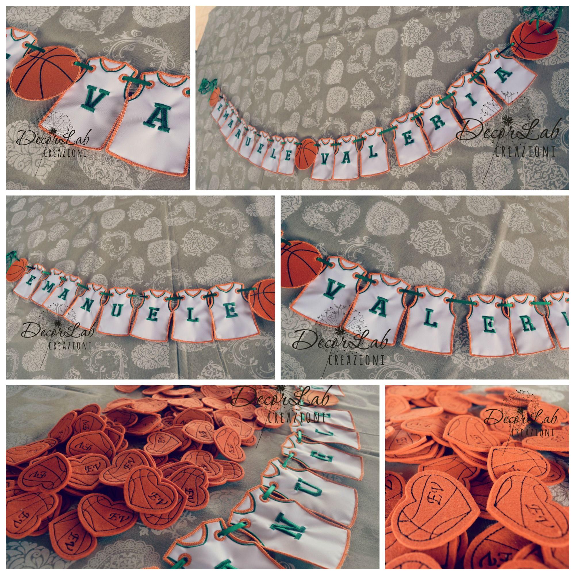 Matrimonio Tema Quadrifoglio : Banner matrimonio tema basket e cuori ricamo basket con iniziali