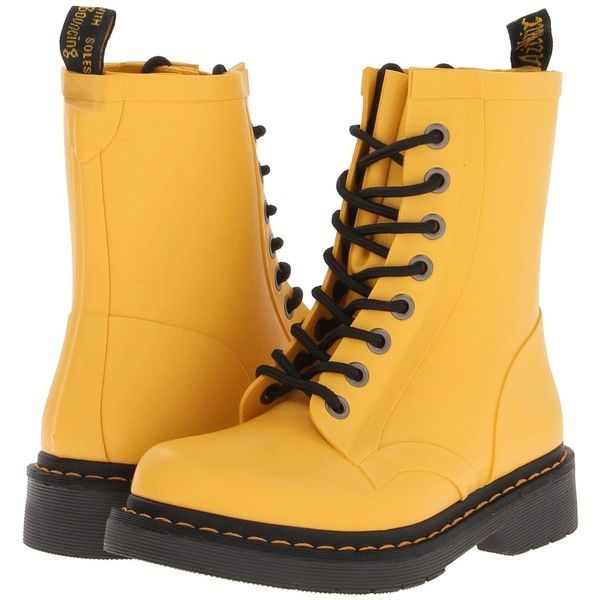 Dr. Martens Drench 8-Eye Boot (5.245 RUB) ❤ liked on Polyvore featuring shoes, boots, botas, ankle boots, matt yellow, waterproof shoes, water proof boots, yellow boots and bootie shoes