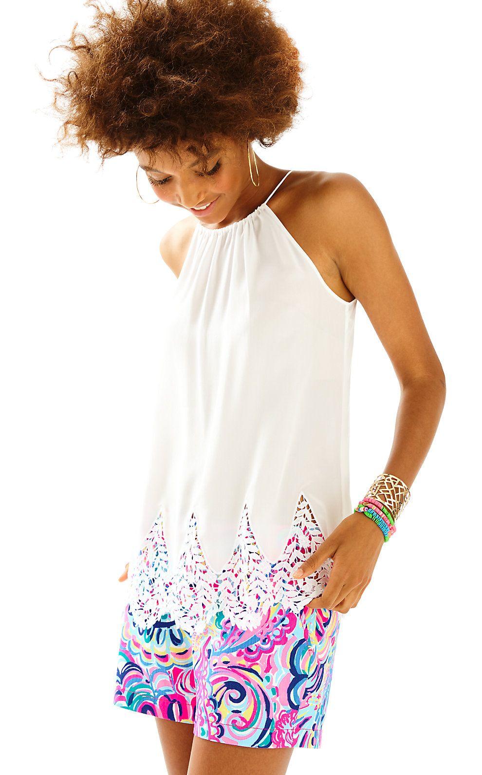 b7b200d33a6dbc Lilly Pulitzer Womens Diem Silk Lace Hem Top