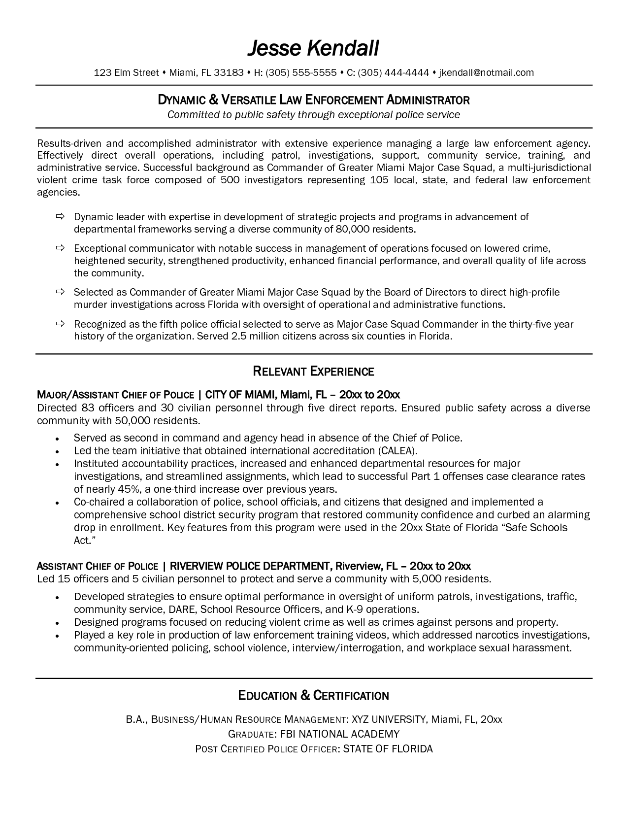 sample law enforcement resume life skills instructor cover letter ...