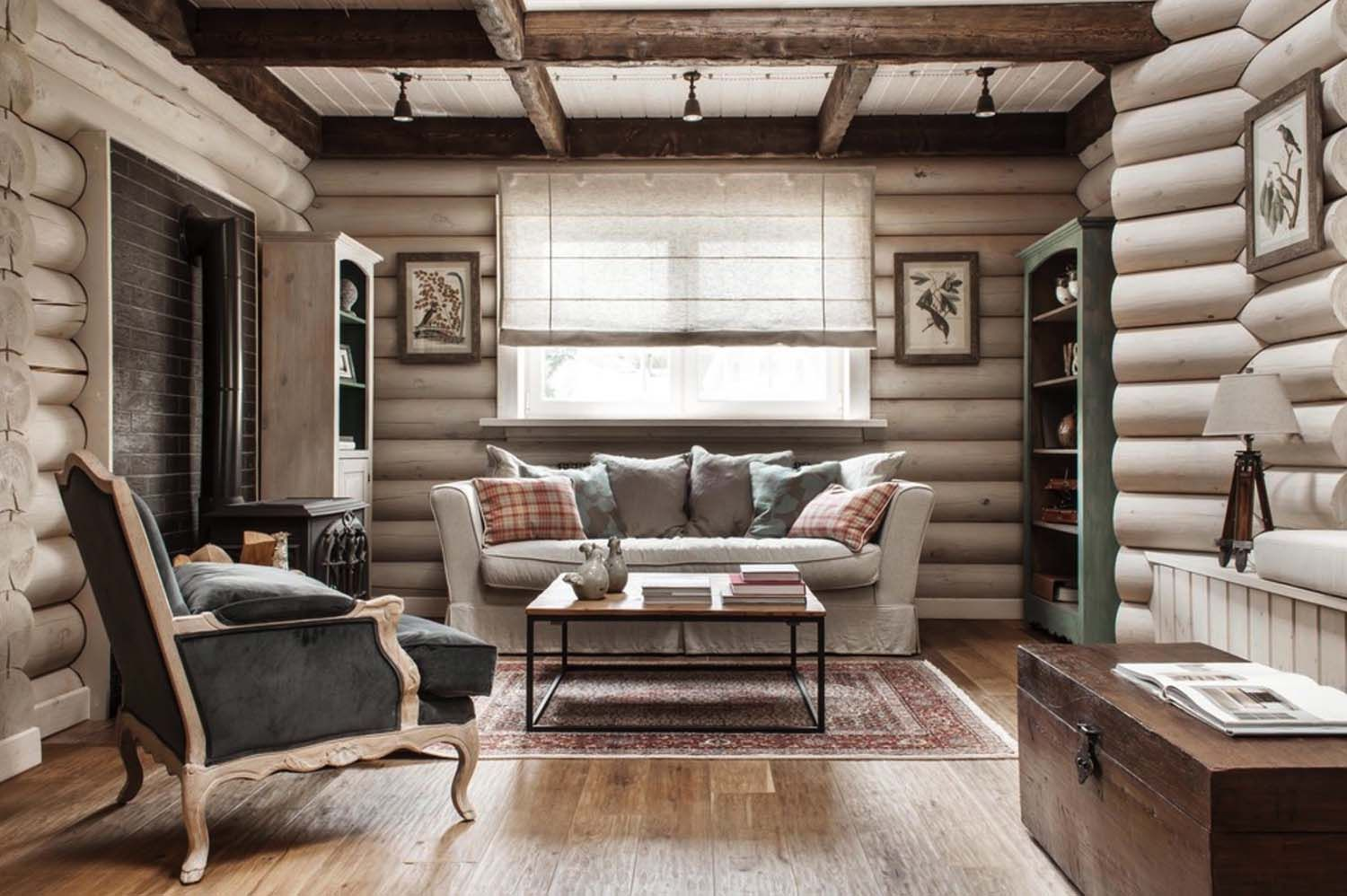 rustic chic log cabin style home in the countryside of moscow