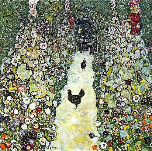 Klimt, Gustave (1862-1918) - 1916 Garden Path With Chickens