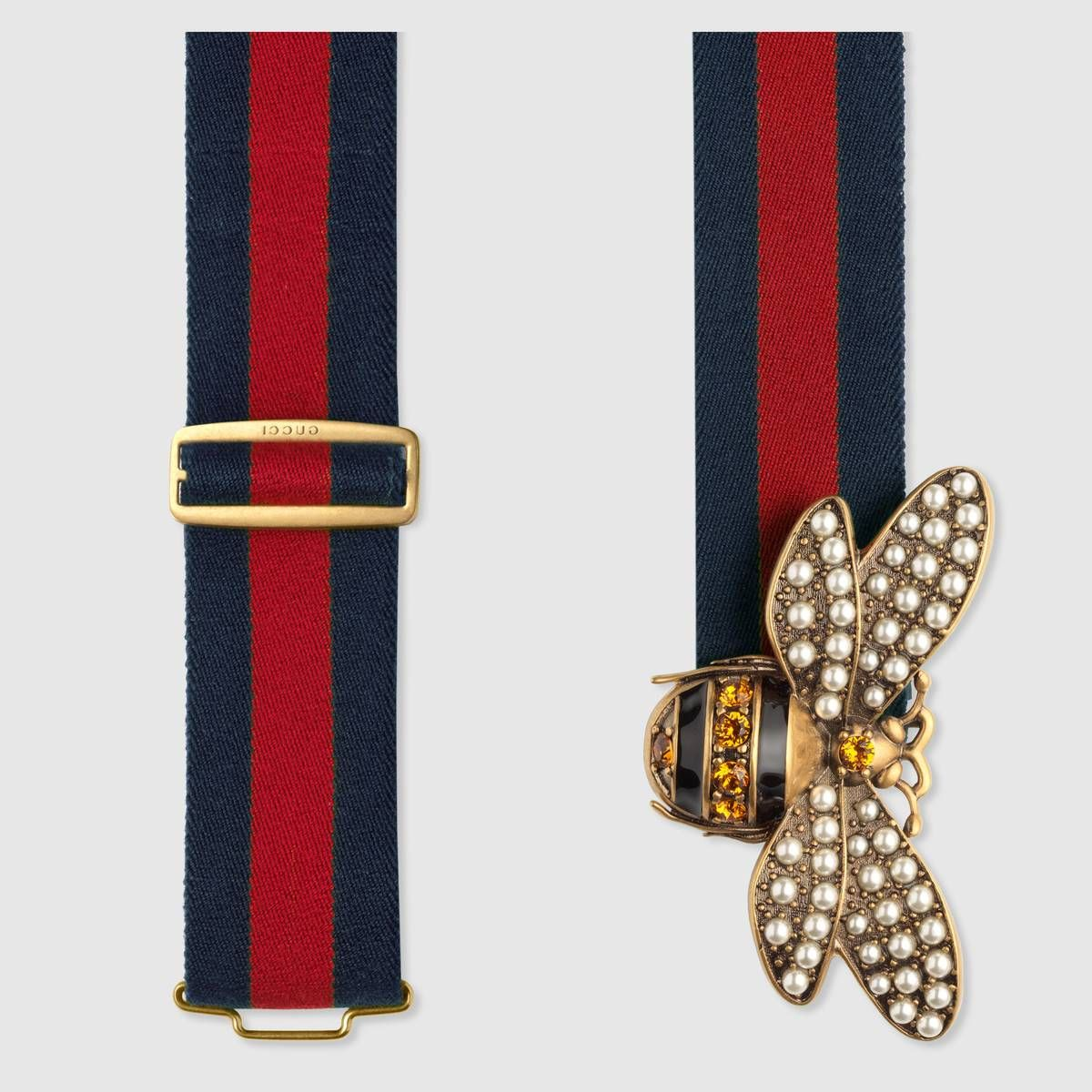 11fad4ff9de4 Web belt with bee in Blue and red Web