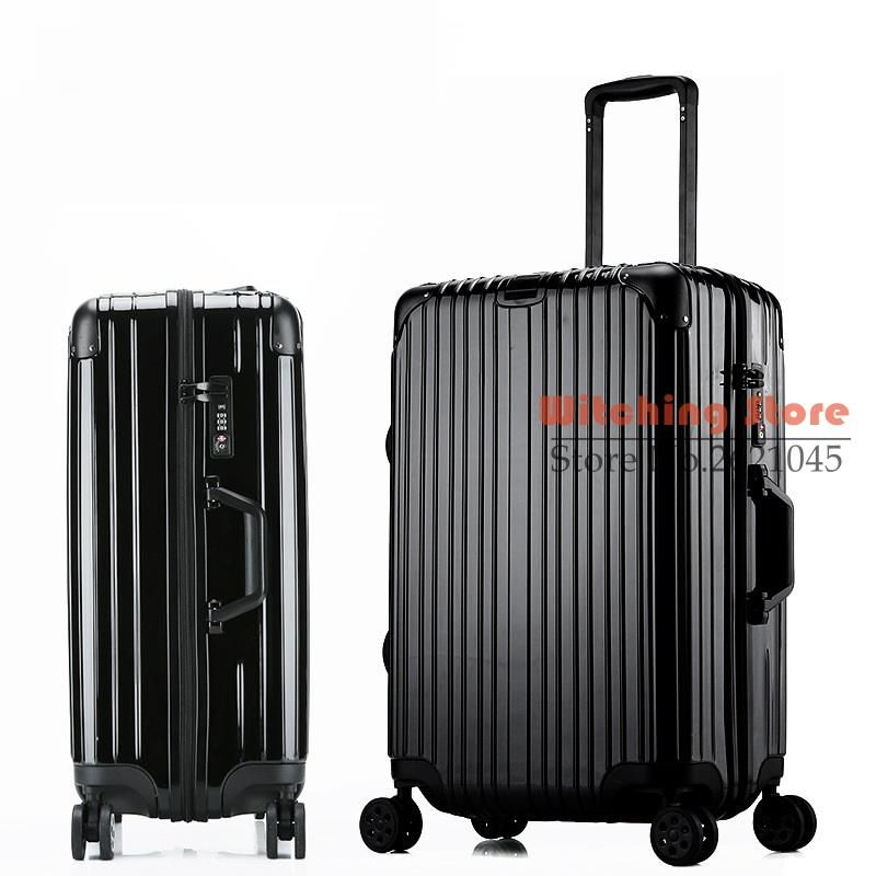 26 INCH  20242629# new rose gold rod box travelling metal bag corner zipper case universal wheel luggage #EC FREE SHIPPING