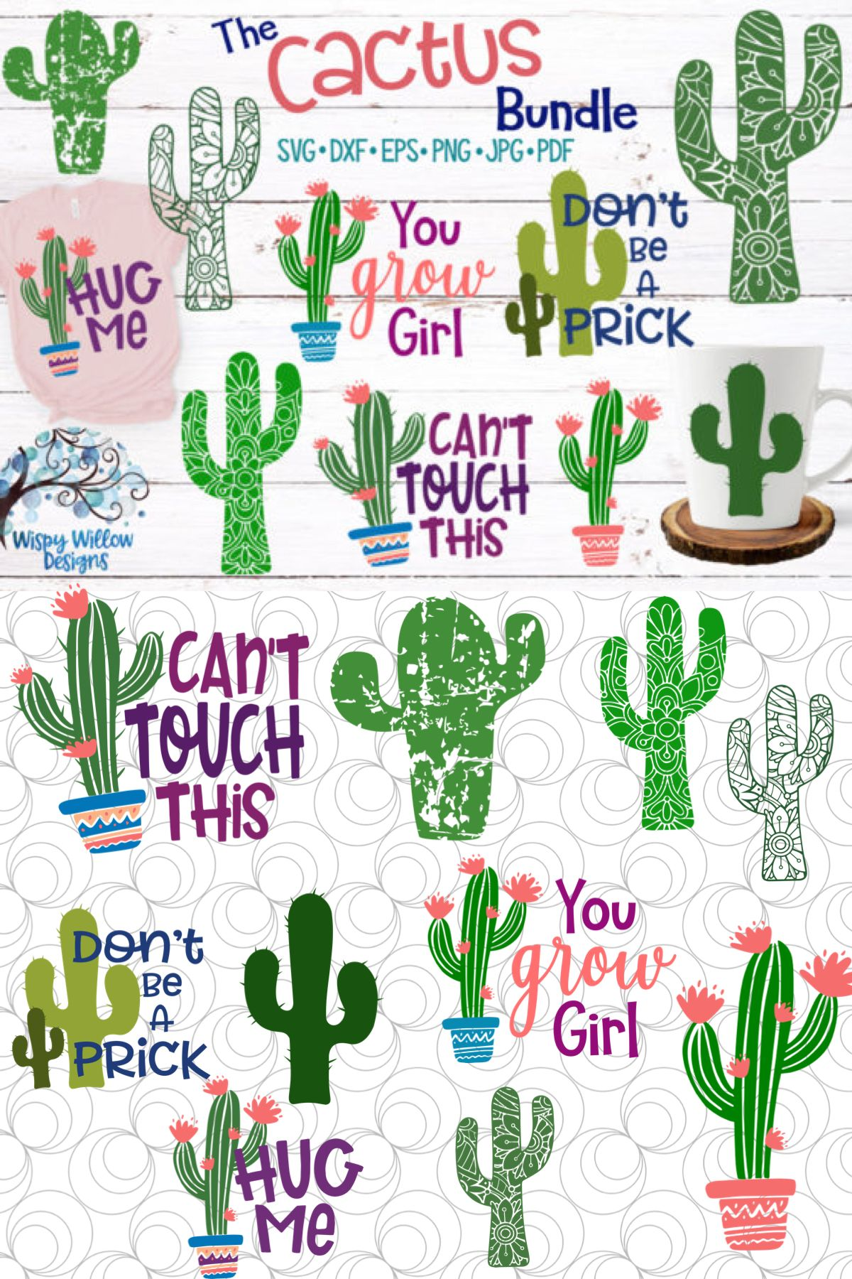 Cactus Bundle Graphic By Wispywillowdesigns Cactus
