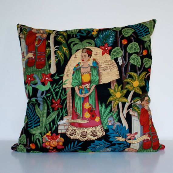 Frida 1 Mexican Pillow Cushion Cover Frida Kahlo Design To Fit Insert 20 X 20 Or 50cm X 50cm Mexican Pillows Cushion Pillow Covers Handmade Cushion Covers