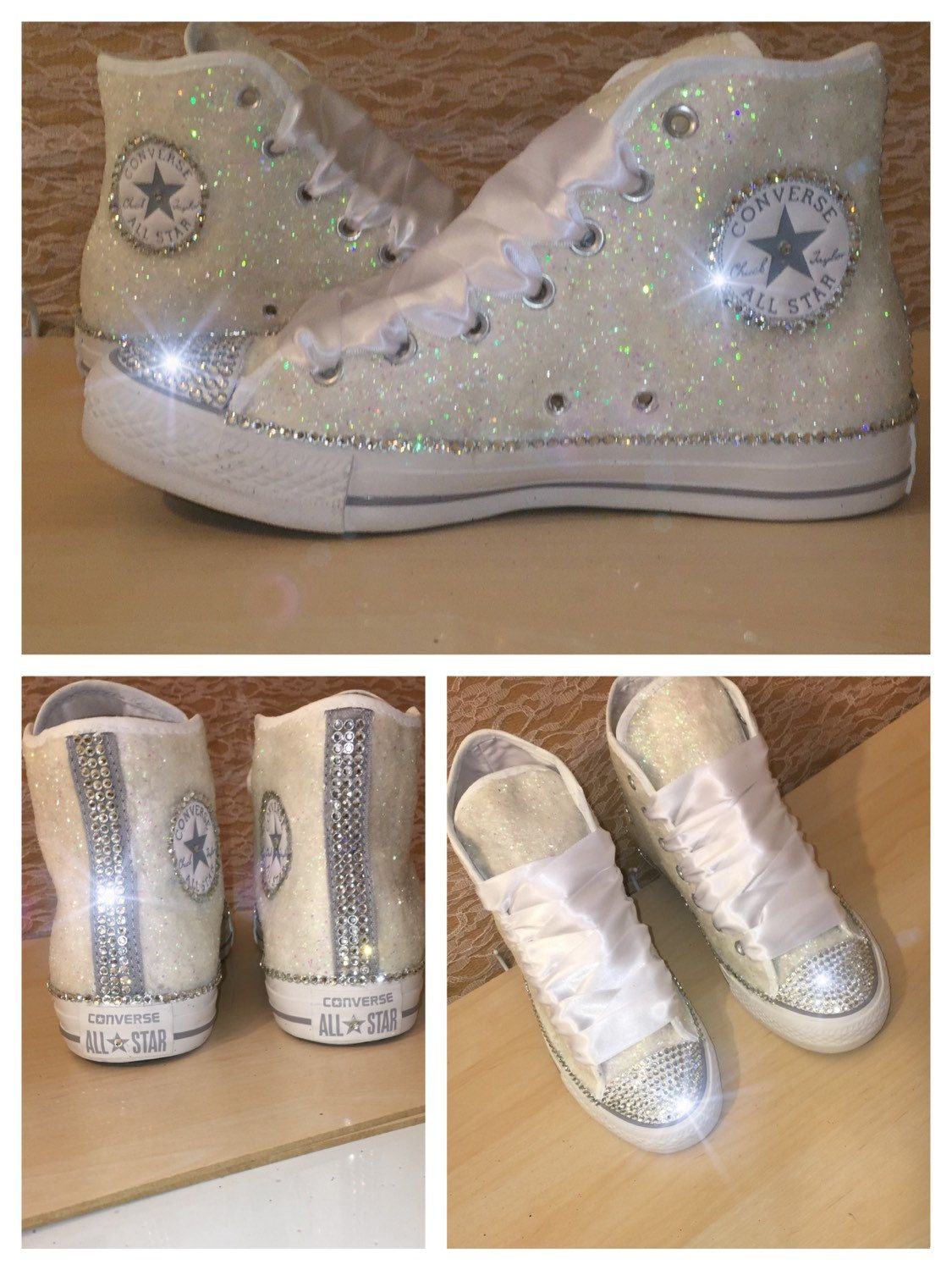 10 OFF code  PINNED10 Women s WHITE or IVORY sparkly Glitter crystals  ribbon lace high top or wedge heels CONVERSE all stars tennis shoes wedding  bride ... e95e4e9be