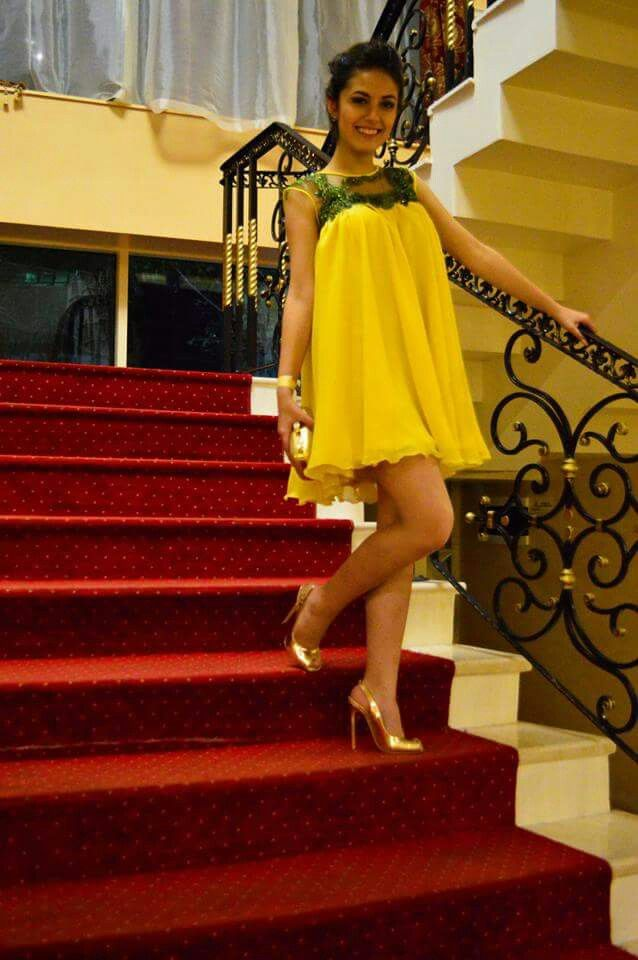 Yellow tent dress,custom made, with gold shoes