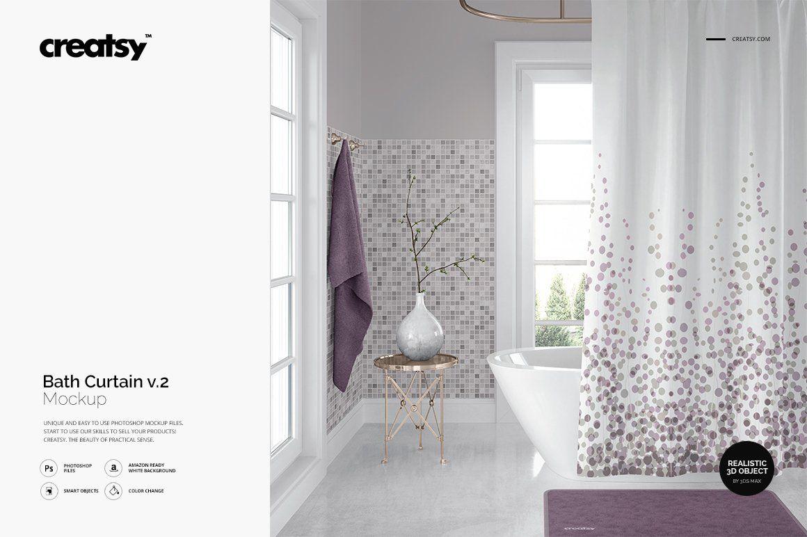 Bath Curtain Mockup 2 Curtains Mockup Design Creative Market