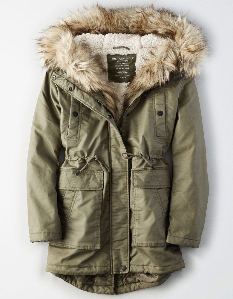 147b6acdb673 American Eagle Women s Faux Fur Hooded Sherpa Lined Winter Long Coat ...