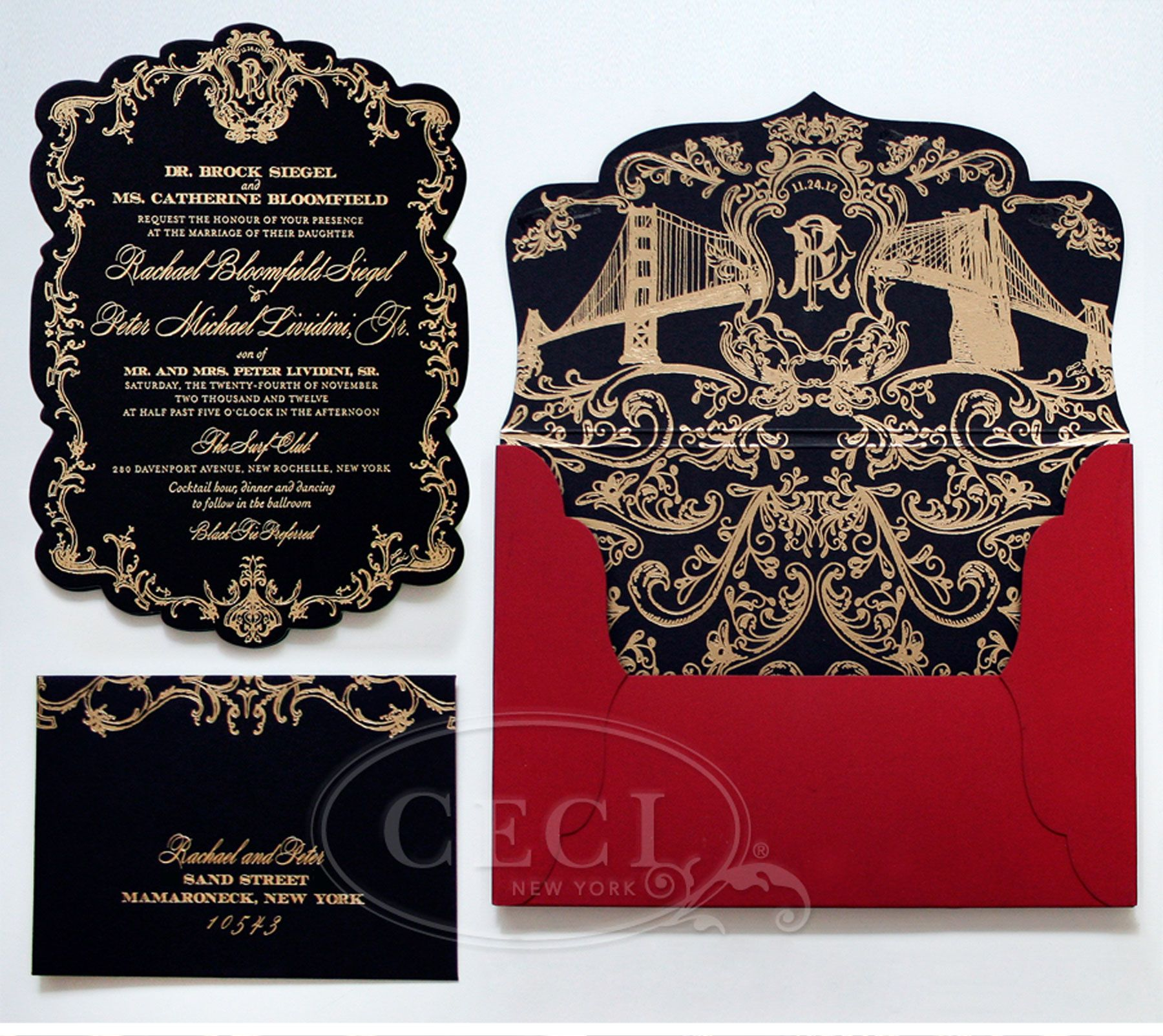Black and Gold Wedding Invitations Modern Designs More http://www ...