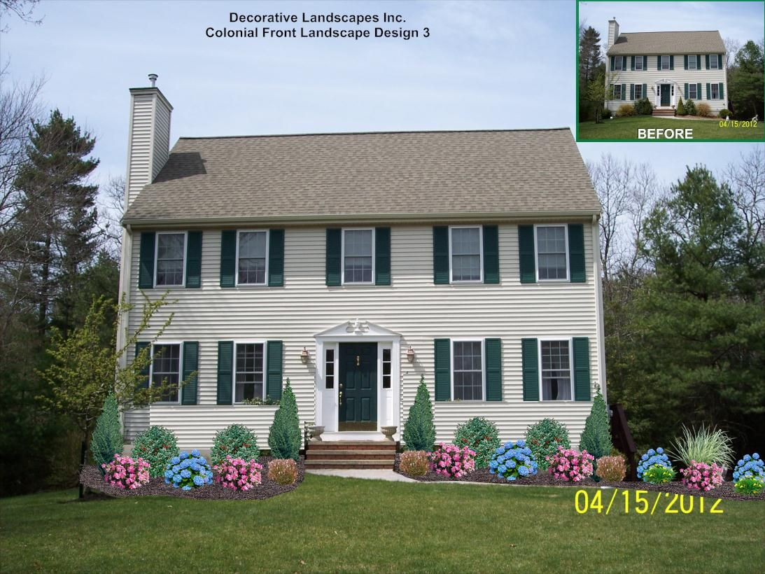 Colonial house landscaping landscape design with rose for Home front landscaping
