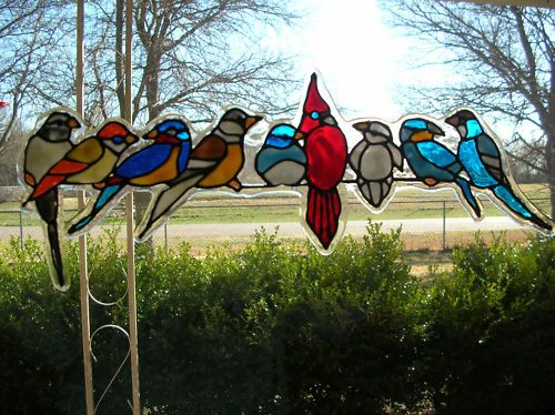 Spring Birds Variety Stained Glass Window Cling Bird Glass And - Window decals for birds canada