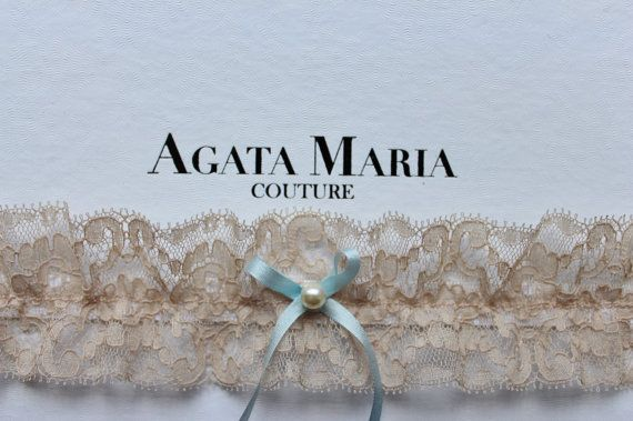Nude Vintage Lace Wedding Garter with Swarovski Blue Pearl, Something Blue Silk Ribbon, Swarovski Pearl and Vintage Lace Bridal Garter www.agatamariacouture.com