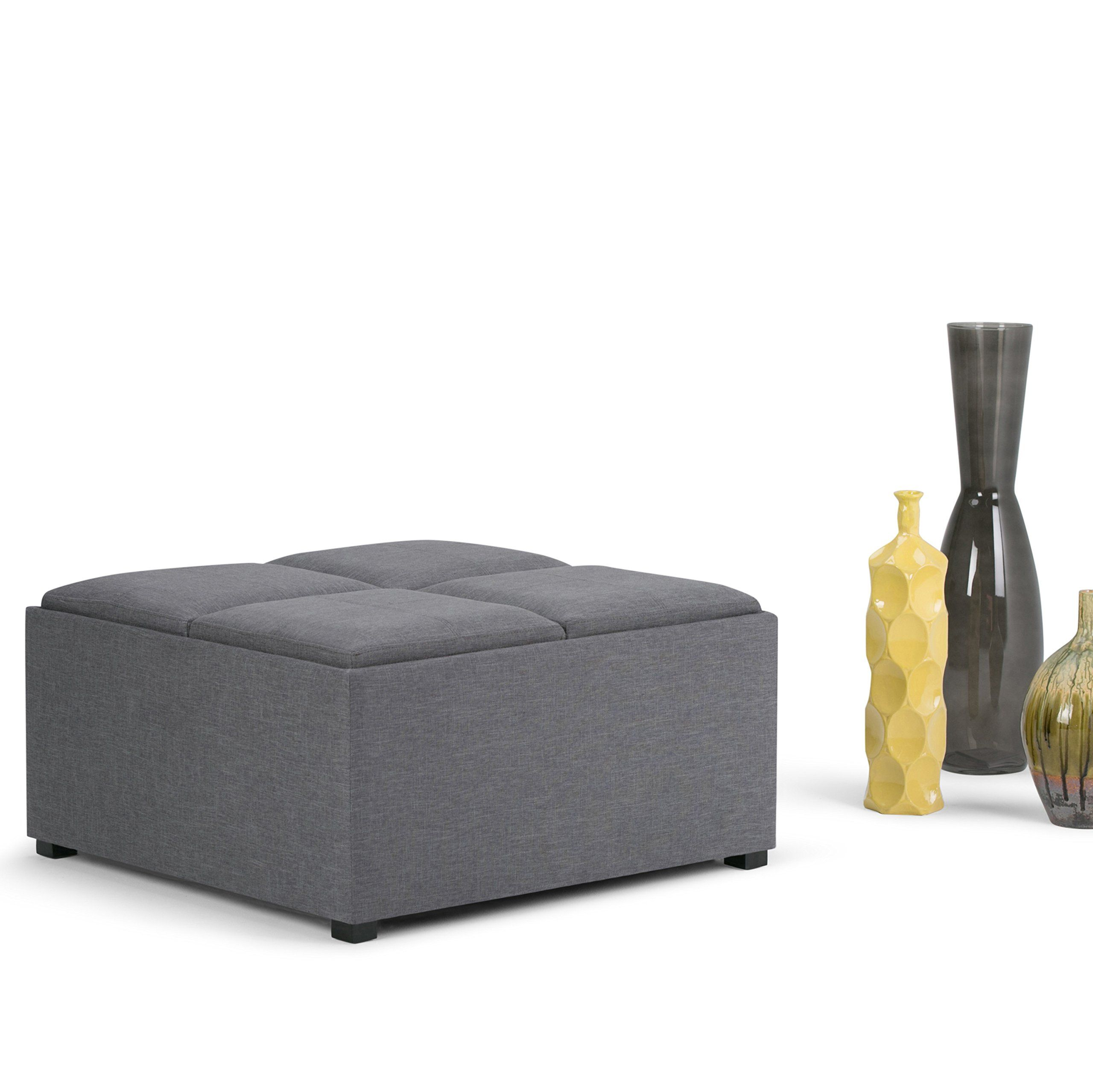 Simpli Home Avalon Coffee Table Storage Ottoman With 4 Serving Trays Slate Grey Find