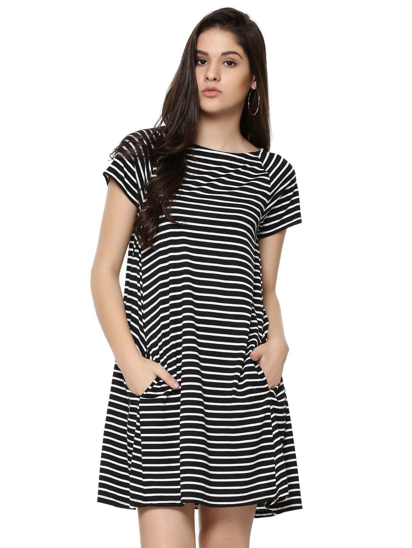 Buy Striped Skater Dress With Pockets For Women - Women s BLACK   WHITE Skater  Dresses Online 6bc903bcb