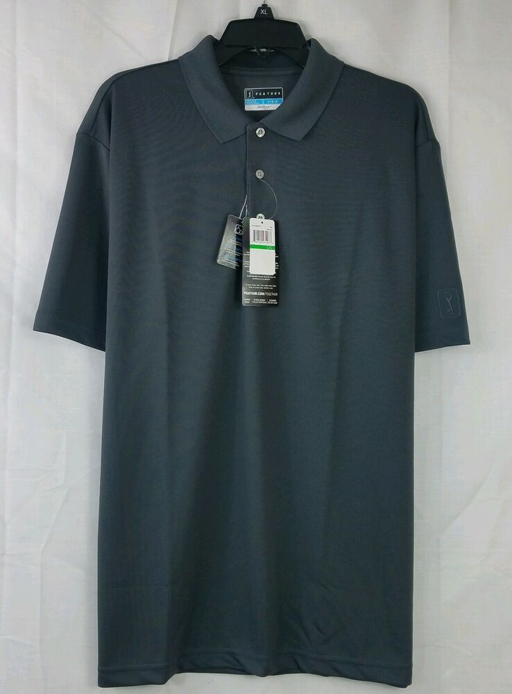 9b4bf39f PGA Tour AirFlux Polo Shirt Gray Golf Official Licensed Apparel DriFlux  Size L Chaps Ralph Lauren