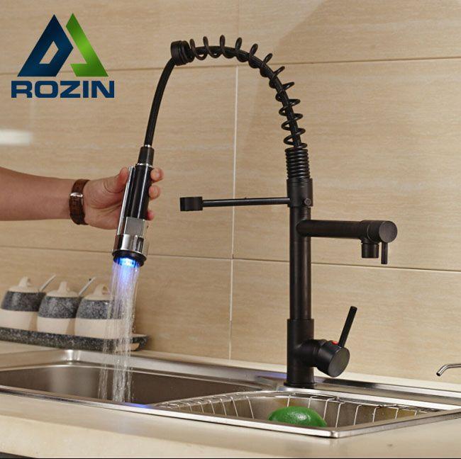 $6720  Buy Deck Mount Two Spout Spring Kitchen Sink Faucet Led Interesting Discount Kitchen Faucets Inspiration Design