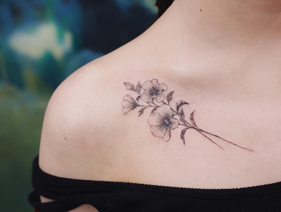 Rose Of Sharon From Saegeemtattoo Studiobysol Tattoo Tattooer Tattooist Colortattoo Roseof Tattoos Collar Bone Tattoo Girl Flower Tattoos