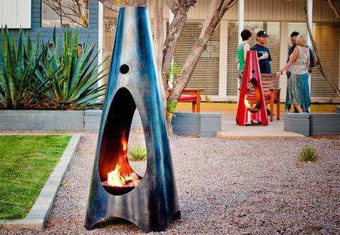 Painted bricks and hardscapes with a fire pit