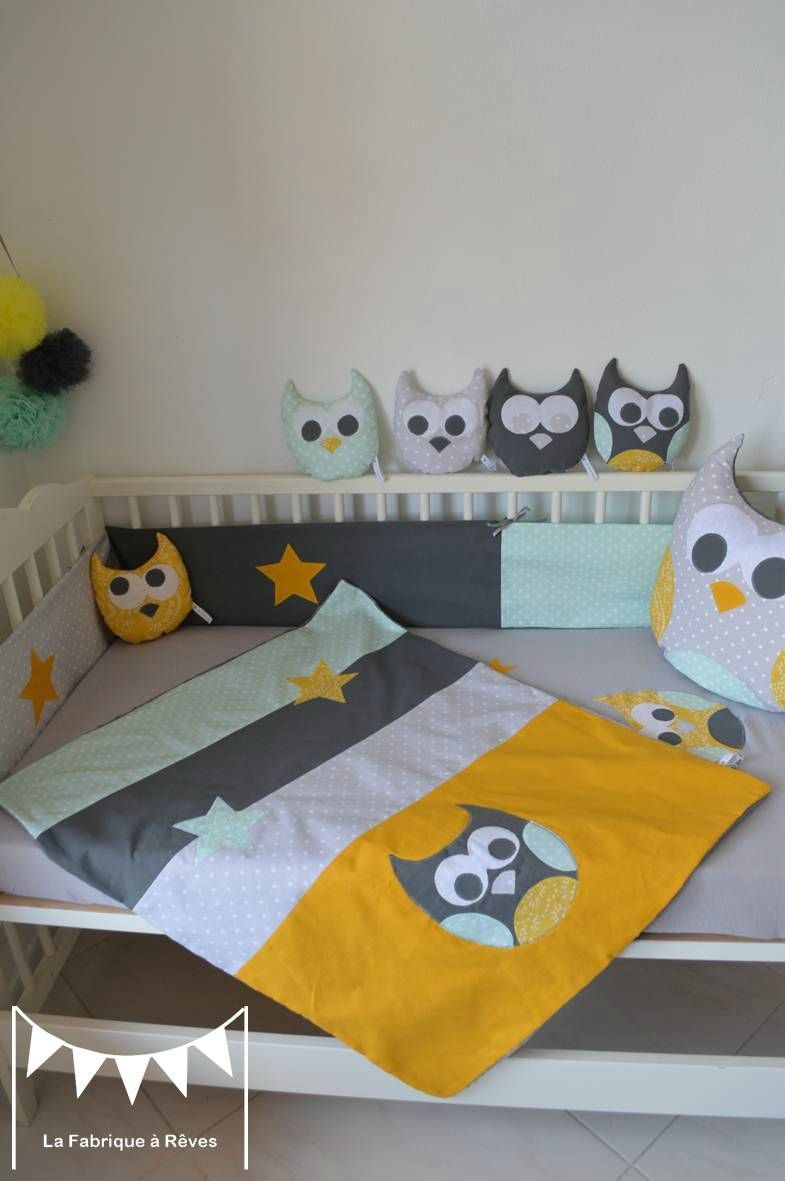 couverture hibou chouette étoiles jaune gris vert amande vert eau ...