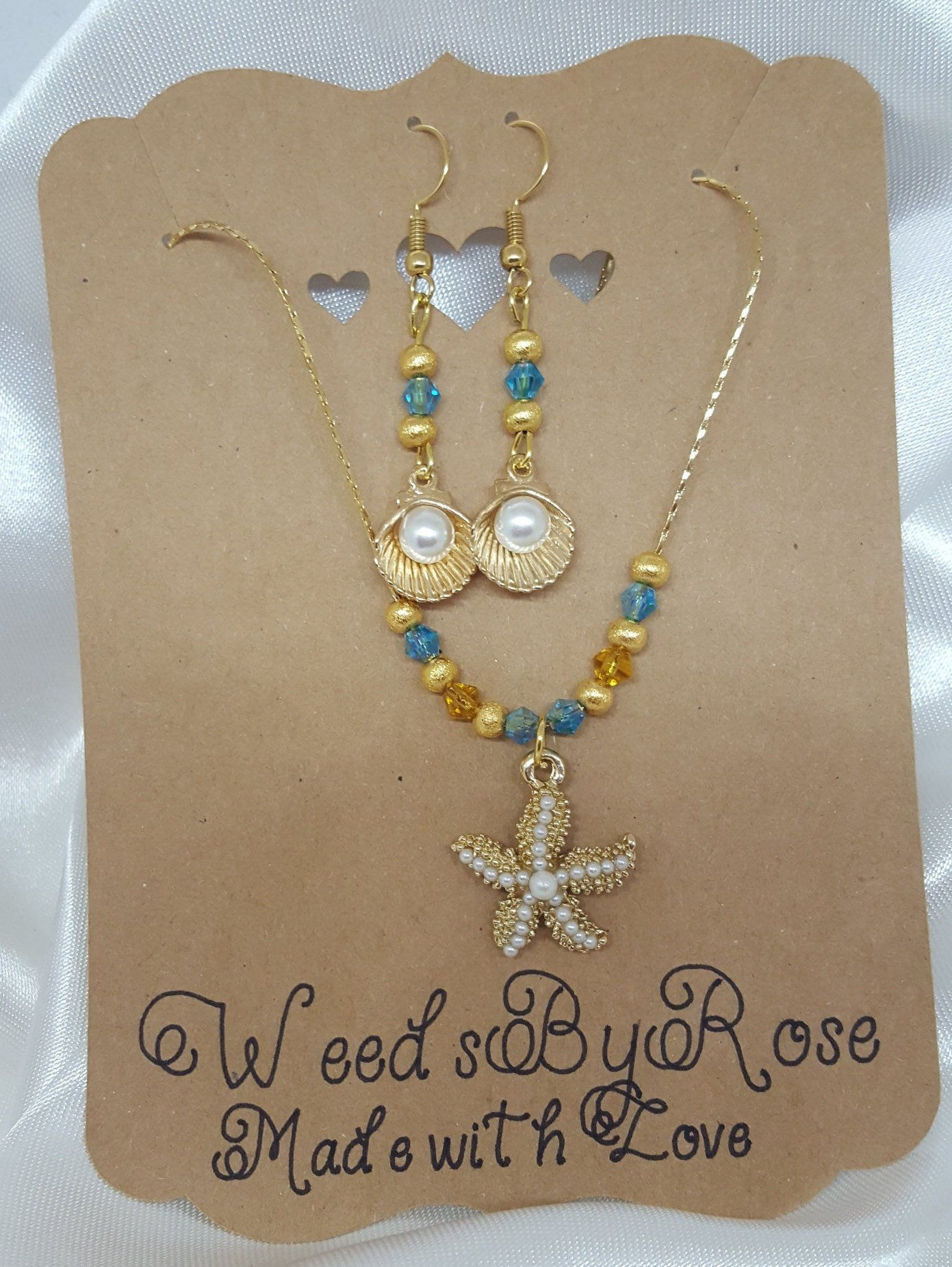 Beach inspired jewelry starfish jewelry necklace set crystal