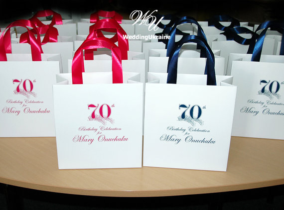 70th Birthday Gift Bags With Satin Ribbon And By WeddingUkraine
