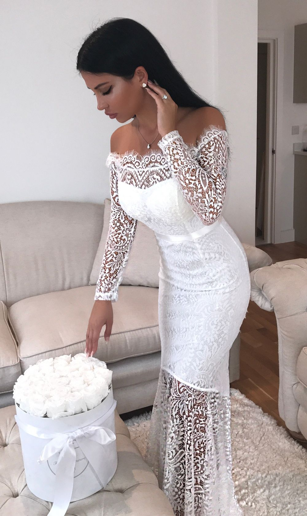 Mermaid off the shoulder long sleeve floorlength white lace prom