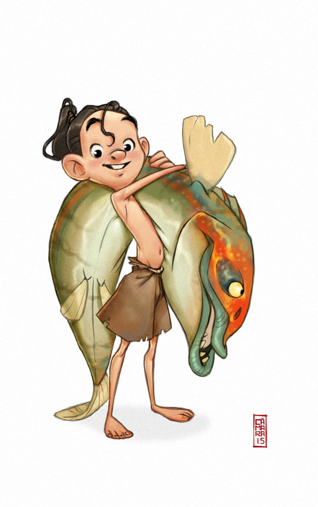 """Alberto Camara - Introducing a new character for my pet project. This guy might be the protagonist of the story. That fish? oh…he is going to feed his…""""special friend"""" with it."""