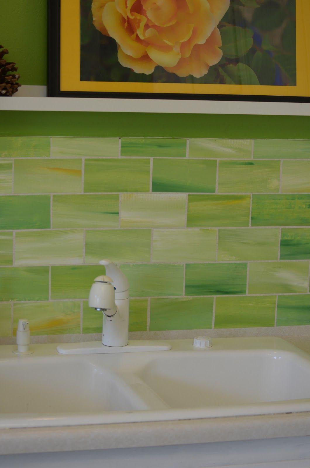 Green glass backsplash tile