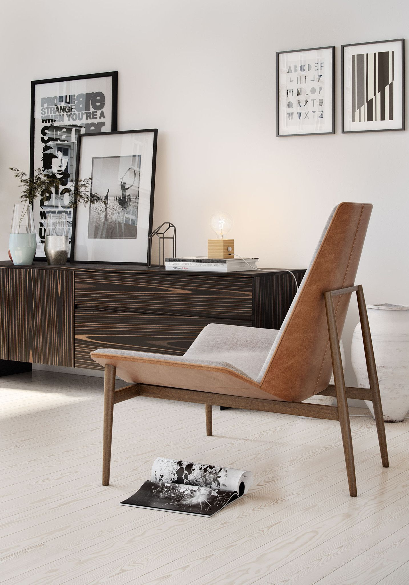 The geometric angles of the kent lounge chair give it the austere air of minimalist design yet the comfort padding on the seat and tapered back