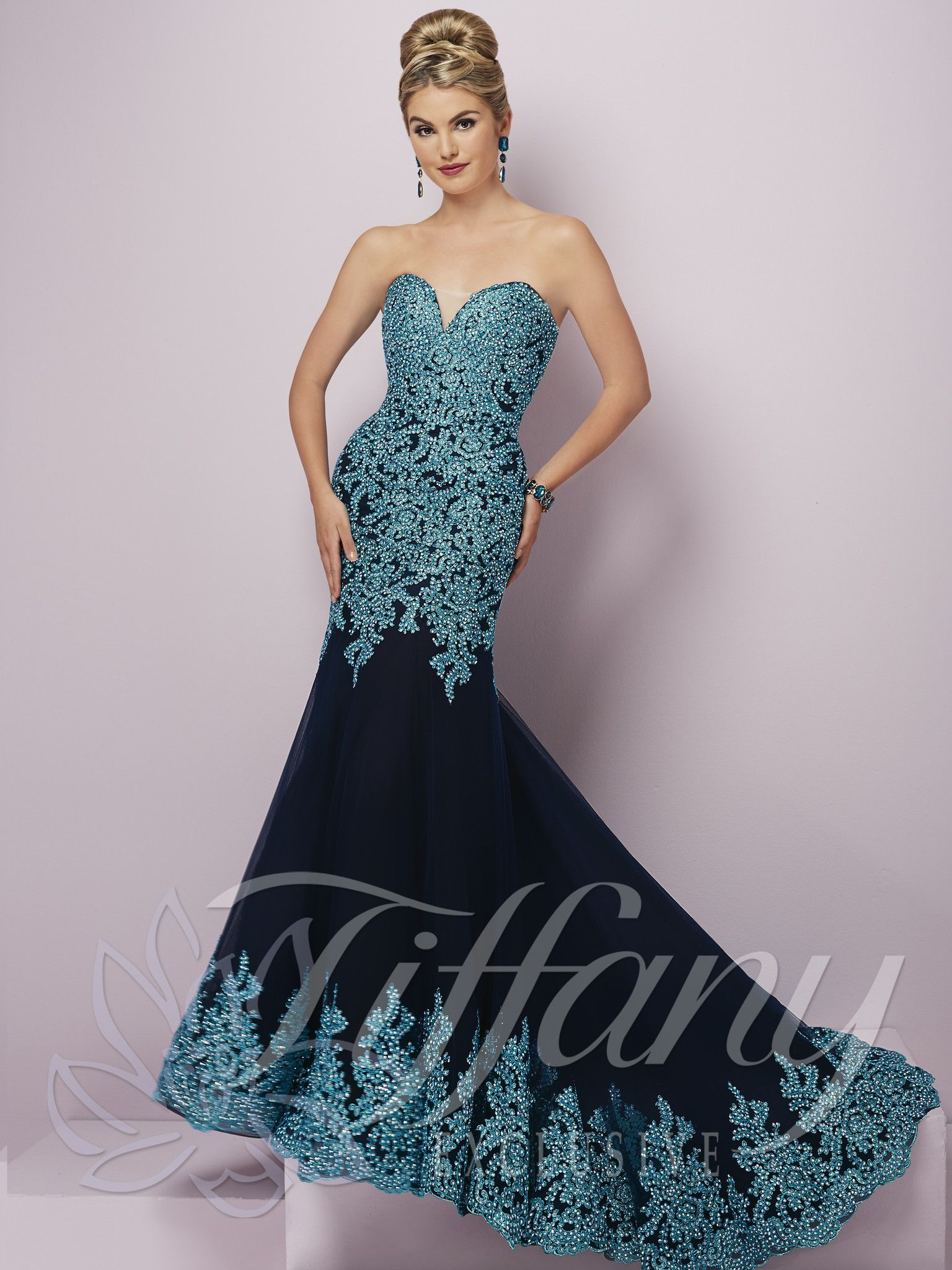 Tiffany exclusives navy turquoise beaded sweetheart prom dress
